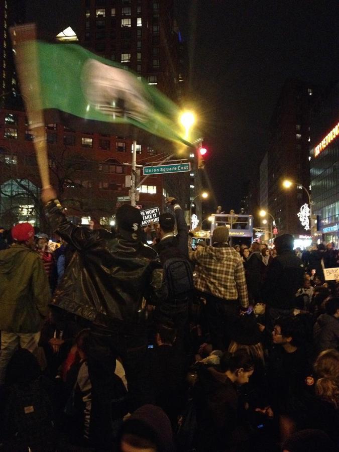Protesters march in Union Square.