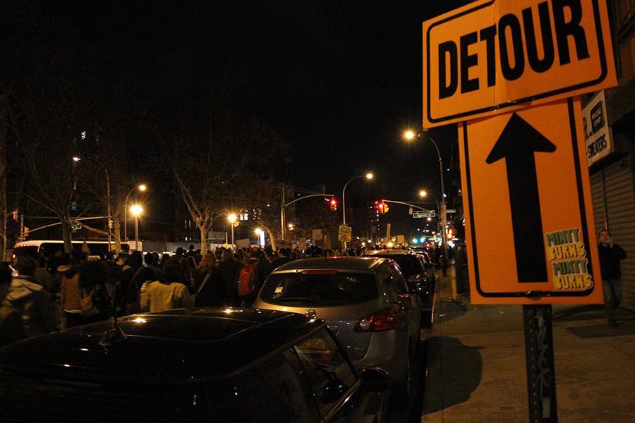 Protesters march near the Williamsburg Bridge.