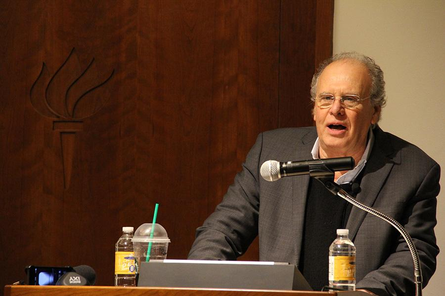 """UCLA historian and professor Robert Brenner delivers his lecture """"The U.S. Economy Today and Tomorrow: Inequality, Stagnation, Crisis"""" at Jurow Lecture Hall in Silver Center on Tuesday."""