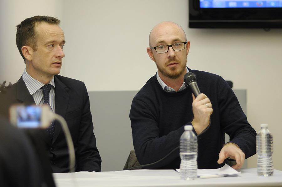 Nicholas McGeenan, left, and Sean O'Driscoll speak on the release of the new Human Rights Watch report.