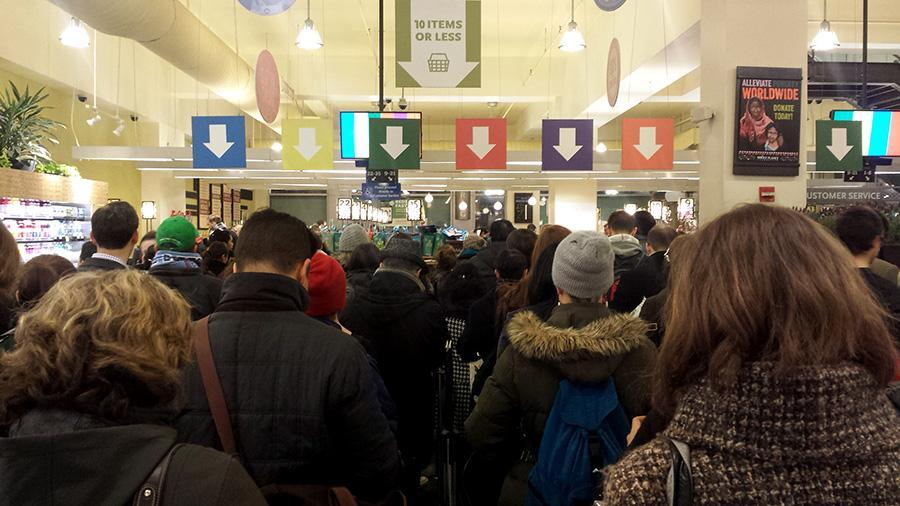 Whole Foods divides traffic into ten color-coded lines.