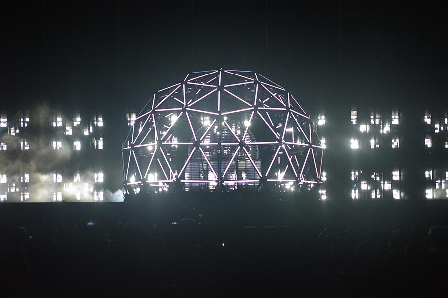 Saturday's DeadMau5 set, which went through four stages of the trap spreading out. This is stage one.