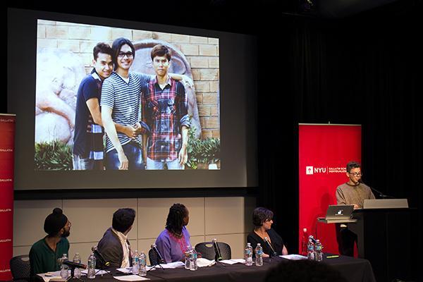 (Left to right) Karanjit Singh, Robert Ascherman, Benjamin Talarico, Tammy Kremer, Ayanna Legros at the Symposium