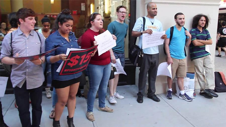 The NYU Student and Labor Action Movement held a protest on Friday in support of freshman Nia Mirza.