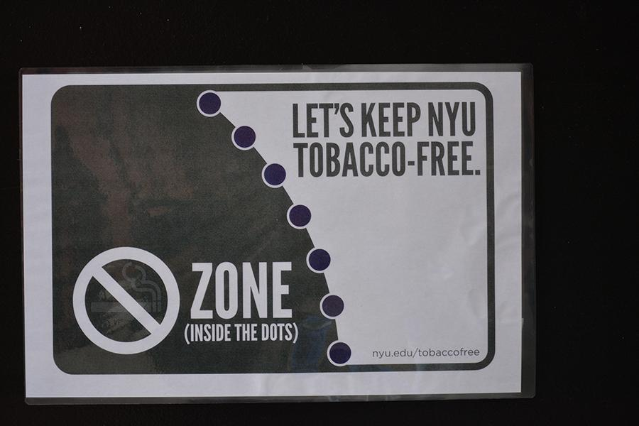 As+part+of+the+SSCs+tobacco-free+initiative+purple+dots+have+been+painted+outside+of+Weinstein+and+Bobst.