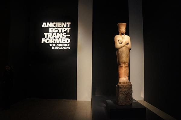 The Head of a Colossal Statue of Senwosret III at the Ancient Egypt Exhibition on display at the Metropolitan Museum of Art.