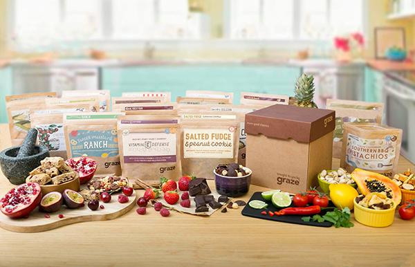 Graze delivers a personalized box of nutritious snacks for only $11.99 for the box of 8 snacks.