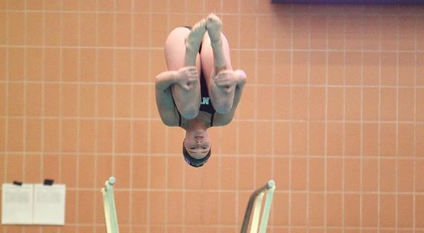 Junior Nia Sorgente took first in the three-meter competition.