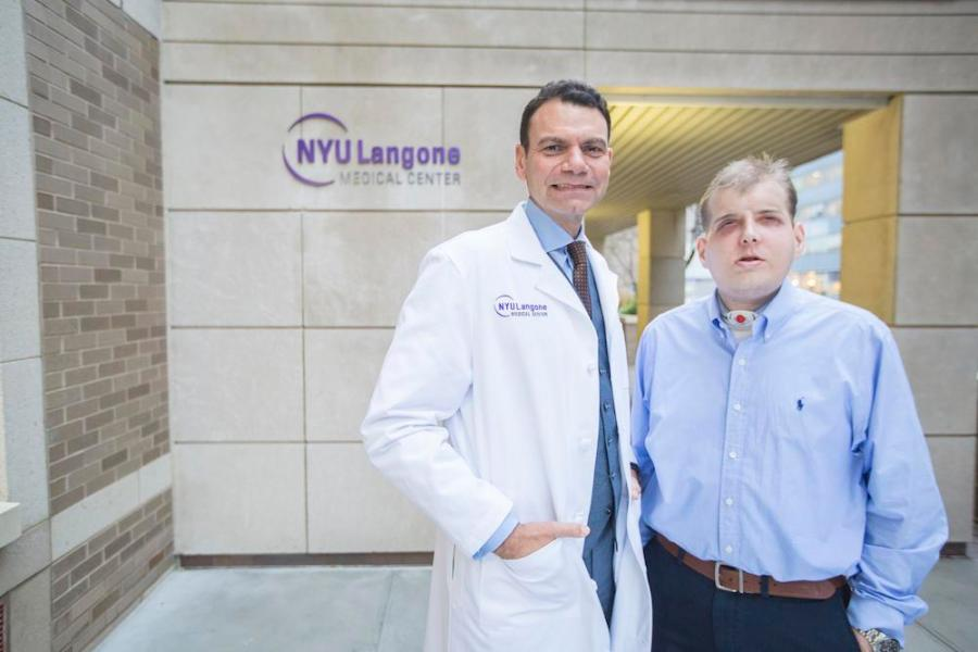 Dr. Eduardo D. Rodriguez, pictured with his face transplant patient Patrick Hardison at NYU Langone on November 12, 2015