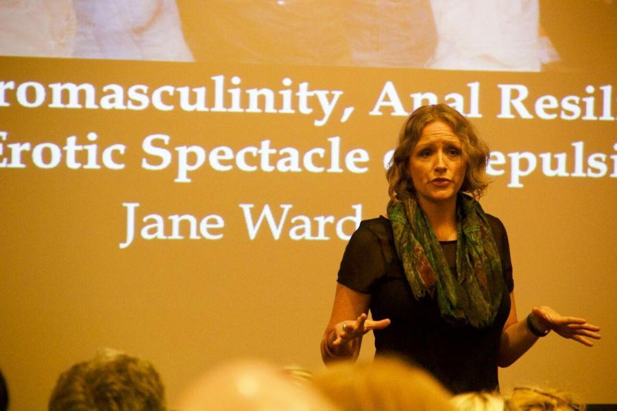 In+her+presentation+entitled+%E2%80%9CWhite+Heteromasculinity%2C+Anal+Resilience%2C+and+the+Erotic+Spectacle+of+Repulsion%E2%80%9D%2C+Jane+Ward%2C+author+and+explorer+of+gender+at+the+University+of+California+Riverside%2C+shows+a+captive+NYU+audience+provocative+images+of+the+white+American+heterosexual+male%E2%80%99s+obsession+with+homoerotic+acts.+