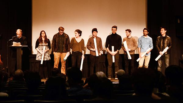 The NYU New Visions and Voices Festival celebrates Tisch talent at its Finalists Screening & Awards Announcement on November 12, 2015. The finalists include Nadia Fedchin, Mitchell Lazar, Kira Dane, David Fu, Andreas Hadjipateras, Barak Barkan, Sachin Dharwadker, Braulio Lin (from left to right).