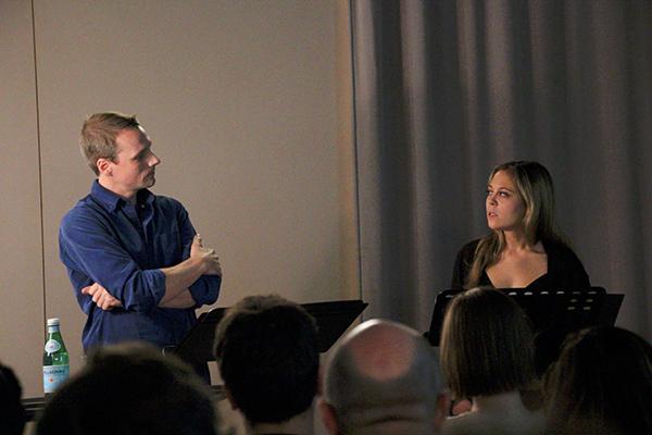 "Ben Williams and Jenny Seastone Stern performing a scene from Julia Jarcho's ""American Treasure."""