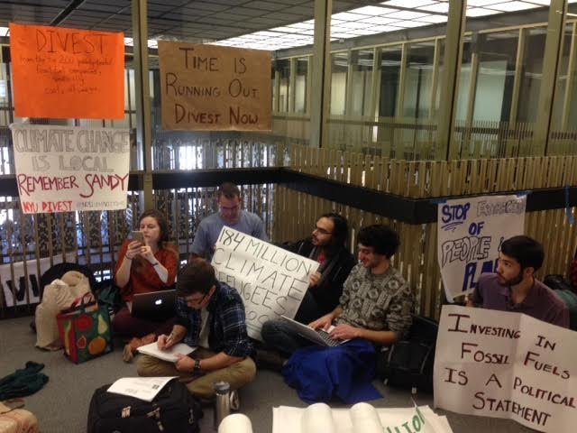 NYU Divest members sit-in on the 12th floor of Bobst Library waiting to confront university administrators.