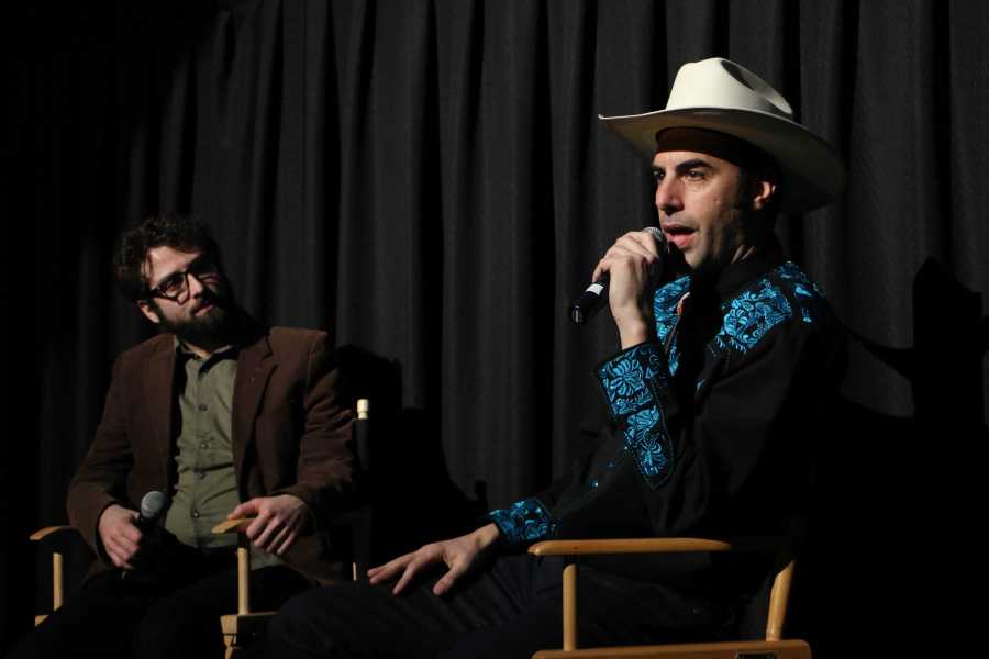 """Sacha Baron Cohen talks about his new movie """"The Brothers Grimsby"""" at the Union Square Regal Cinema."""