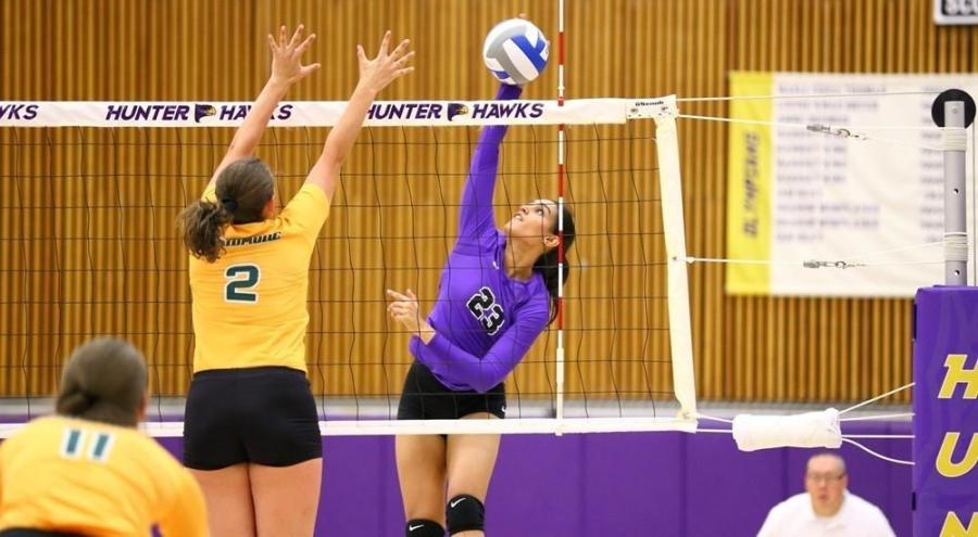 Sophomore Annie Singh was a high hitter against Brooklyn College with 8 kills.