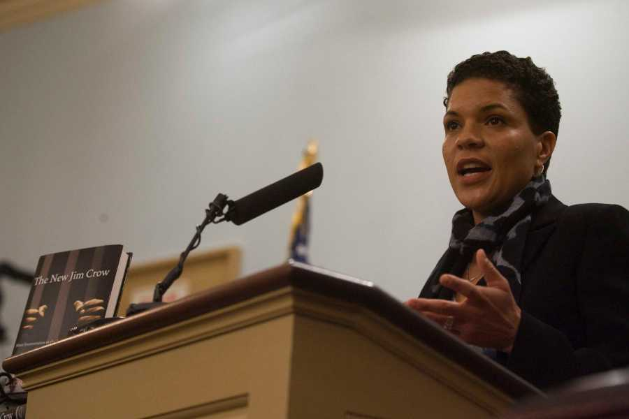 Michelle Alexander speaking at the Miller Center Forum on Dec. 3, 2011. Alexander, the author of The New Jim Crow, gave the 21st Annual Derrick Bell Lecture on Race in American Society at NYU Law on Thursday.