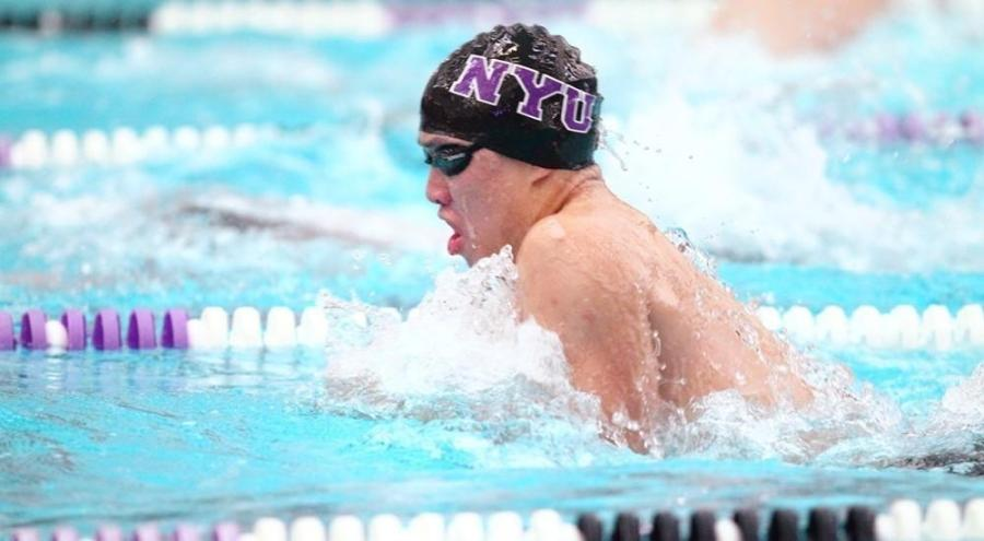 Tim Kou set the NYU record in the 100-yard breaststroke at the MIT Winter Invitational.