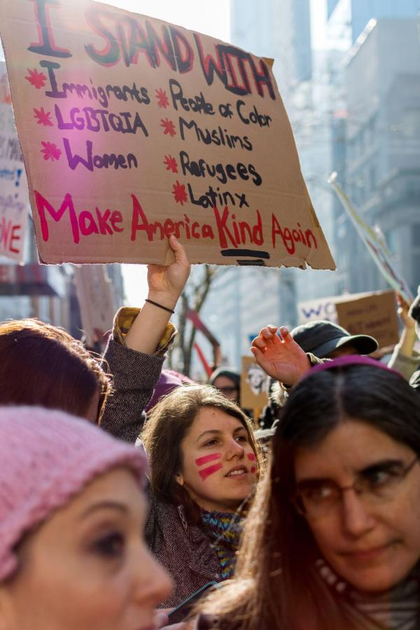 A woman protests as part of the Women's March on NYC.