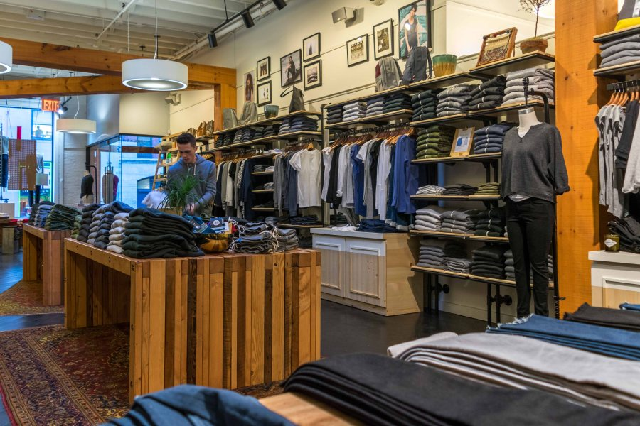 Alternative Apparel, on Lafayette Street, SoHo. The fabric-first clothing brand produces 70% of its high quality garments through sustainable processes and materials.