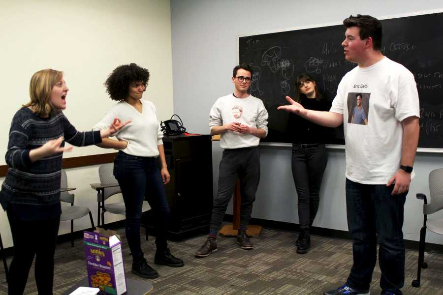 The members of Dangerbox practice with group improv activities during their rehearsals.  Dangerbox is NYU's longest running improv group and is one of the top 10 improv groups in the country.