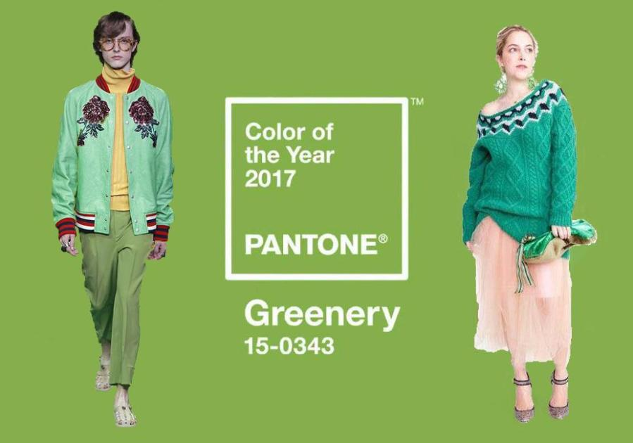 Pantone's color of the year is Greenery, a mix of light blue and bright yellow that represents a fresh bud in the spring. Pictured on the left is from Gucci S/S 2017 menswear;  pictured on the right is from the J.Crew F/W 2017 collection.