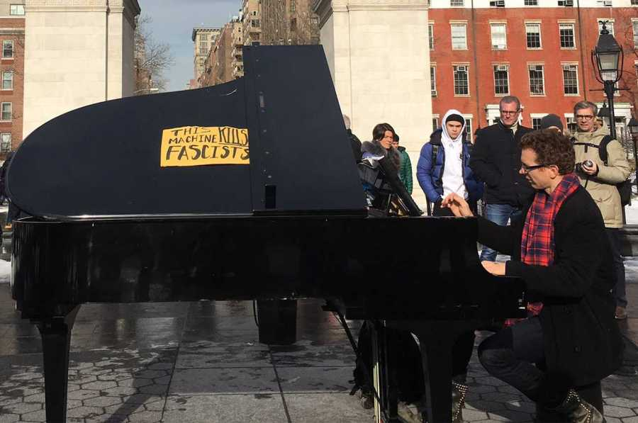 A pianist who frequents Washington Square Park altered his instrument with a sign that reads