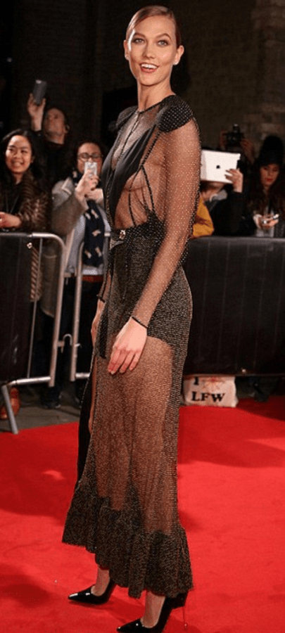 Model Karlie Kloss wears a sheer dress to host a charity fundraiser in London. With creative use of color or texture, a sheer dress can be the focal point of an outfit.