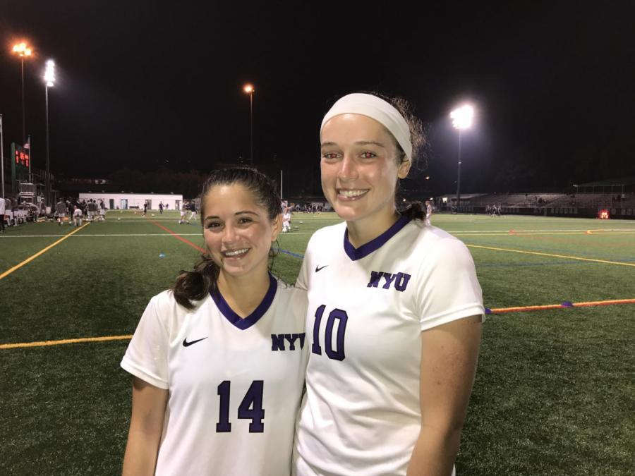 Nalani Ogawa (Left) and Alex Benedict (RIght)  both scored goals in the Saturday night women's soccer match.