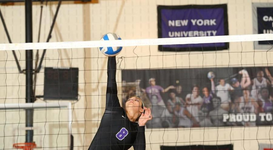 The NYU women's volleyball team played in a round robin tournament at the University of Chicago.