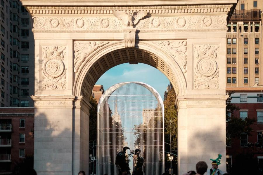 """Ai Weiwei's new installation artwork """"Good Fences Make Good Neighbors"""" under the Washington Square Arch comments on the increasing hostility towards immigrants and the rise of nationalism."""