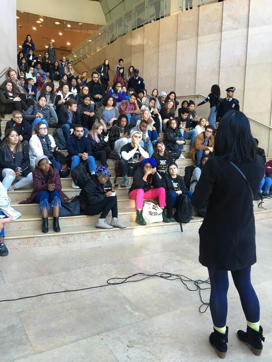 A rally was held in Kimmel today, responding to a vandalized poster in Bobst which threatened DREAMers.