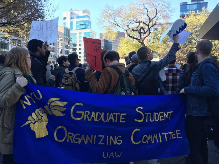 Graduate and Ph.D. students gathered in Union Square on Nov. 29 to protest the proposed GOP tax reform bill.