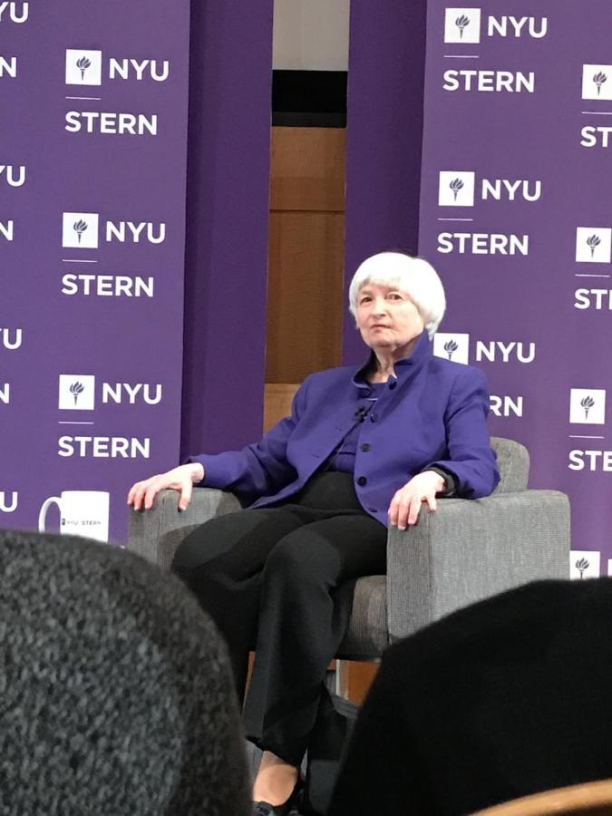 """Janet Yellen spoke to a crowd at Stern on Nov. 21 as part of the """"In Conversation with Lord Mervyn King"""" Series."""