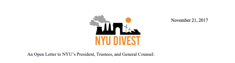In+the+letter%2C+NYU+Divest+said+that+many+Board+of+Trustees+members+have+connections+to+the+fossil+fuel+industry%2C+which+they+deem+to+be+conflicts+of+interest.