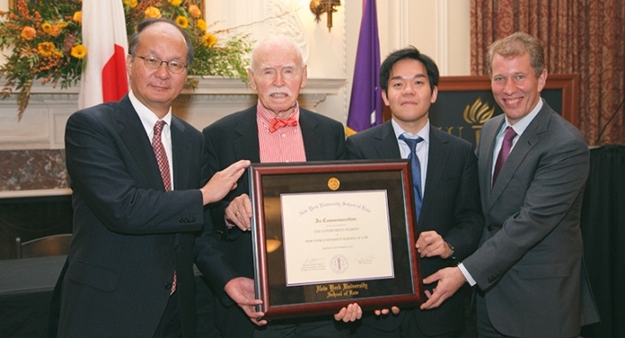 From left to right: Japanese Ambassador Reiichiro Takahashi, Jerome Cohen, Ren Ito and NYU Law Dean Trevor Morrison accepting the five million dollar donation from the Japanese government to the NYU Law U.S.-Asia Institute.