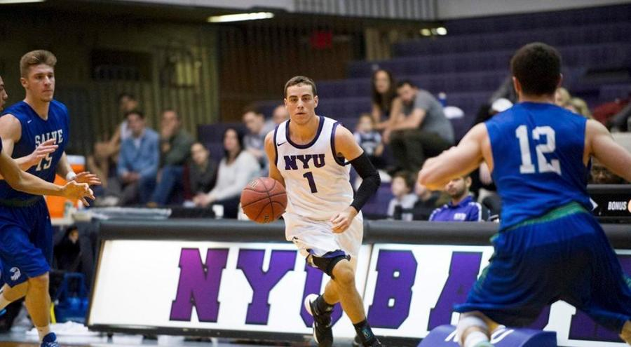 The NYU men's basketball team captain Ross Udine of the led the team to a 80-77 victory over the College of Mount Saint Vincent on Nov. 18.