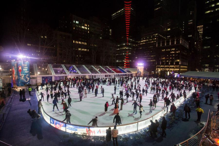 At the heart of Bryant Park's annual Winter Village is its ice skating rink. It hosts thousands of visitors each year while also offering various winter festivities.