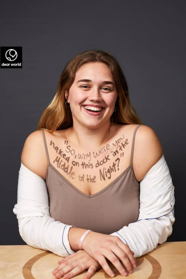 """Chloe Citron took part in the """"Dear World"""" art project and shares her story through the letters written on her chest."""