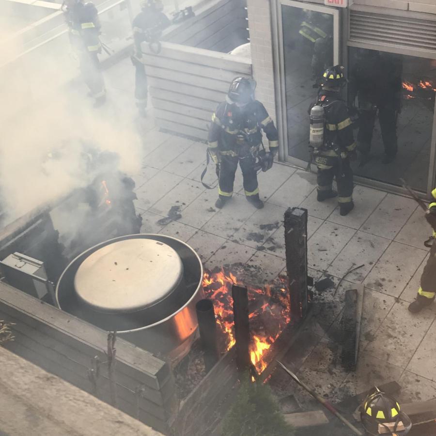 Furnace Fire Engulfs Roof Near Lafayette Hall
