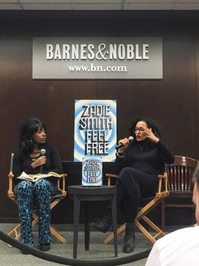 Novelist Zadie Smith being interviewed by New Yorker staff writer Doreen St. Félix at the Barnes and Noble on 82nd Street and Broadway last Thursday.