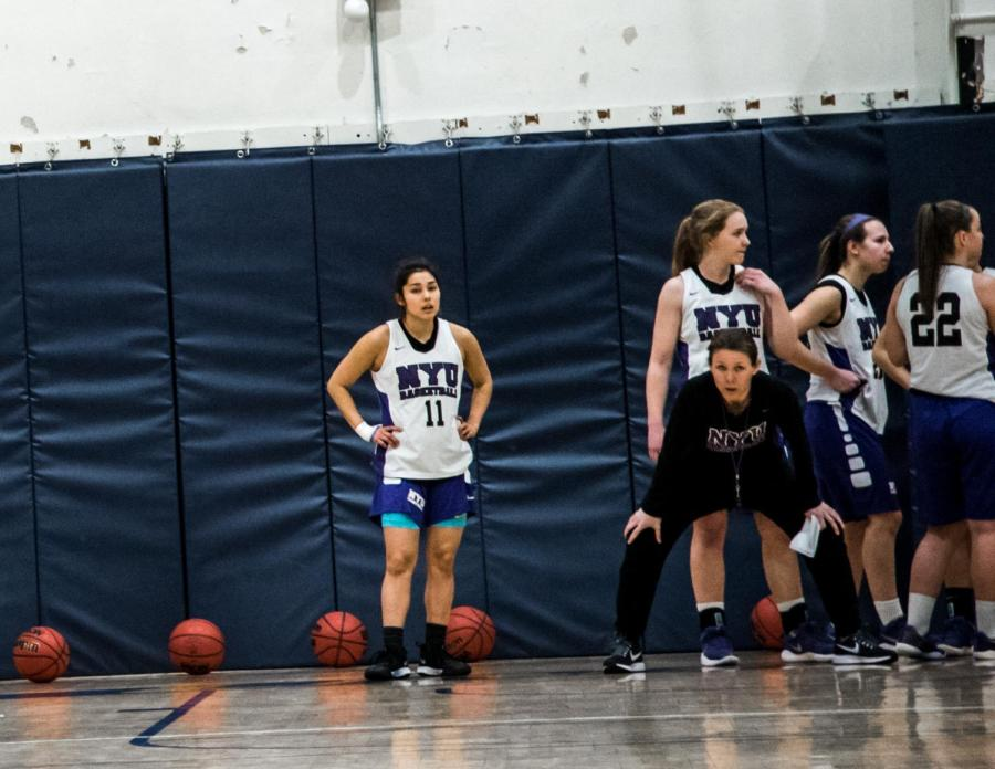 Lauren Hall-Gregory, the women's basketball team's head coach, during a practice on Feb. 1. She recently earned her 100th win, while the team finished runner-up in the ECAC tournament.