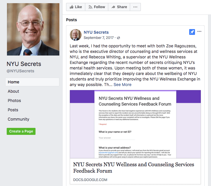 The+Facebook+page+for+NYUSecrets.+The+page+moderator+recently+posted+a+link+to+a+survey+to+give+feedback+on+NYU+Wellness+and+Counseling+due+to+the+high+number+of+Secrets+posts+critiquing+these+services.