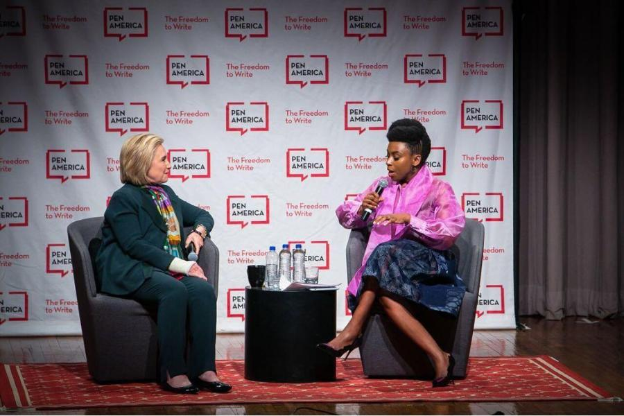 Hillary Clinton speaking with Chimamanda Ngozi Adichie at PEN World Voices Festival.