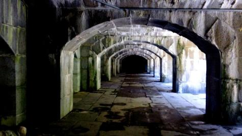 An underground tunnel in Fort Totten, located on a peninsula in the northeast corner of Queens.