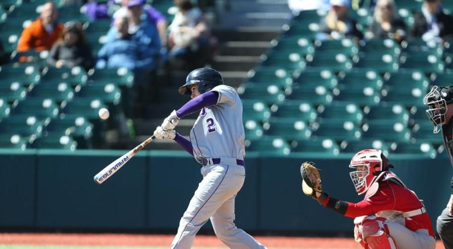 Jonathan Iaione up to bat on April 1 in Brooklyn in a match against Washington University. Iaione was recently named to be on UAA's 30th Anniversary Team.