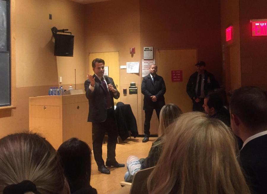 Former White House Communications Director, Anthony Scaramucci speaking at an NYU Republicans event.