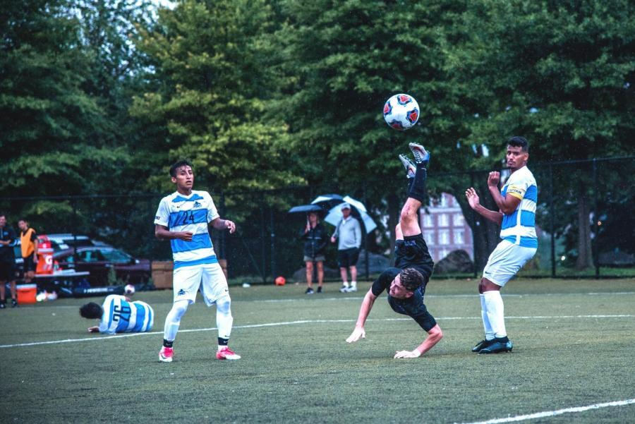 Sophomore Oliver Kleban takes a shot in a September 2018 game against John Jay. (Photo by Sam Klein)
