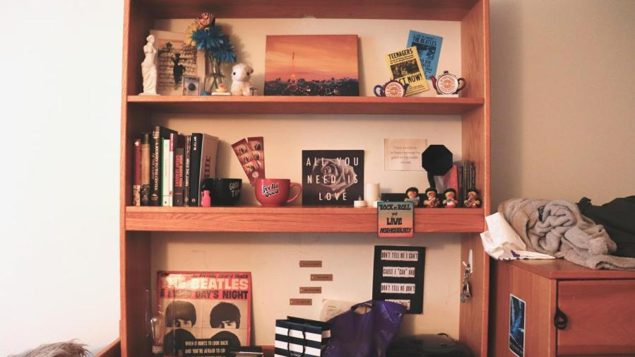 A decorated dorm room.