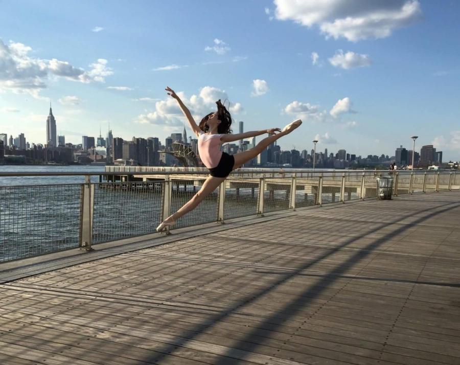 Catherine Devine, a sophomore in CAS, dancing.