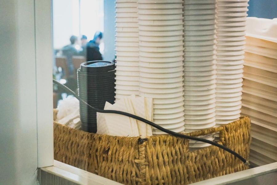 Paper cups in the Third North dining hall. NYU has started eliminating single-use plastic by providing alternatives.